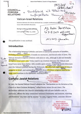 #K0042 l Vatican-Israel Relations - Council on Foreign Relations