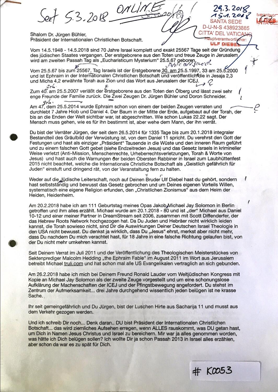 #K0053 l Brief an Dr. Jürgen Bühler, Präsident der Internationalen Christlichen Botschaft