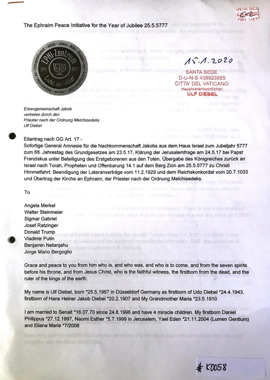 #K0058 l The Ephraim Peace Initiative for the Year of Jubilee 25.5.5777 - Eilantrag nach GG Art,17
