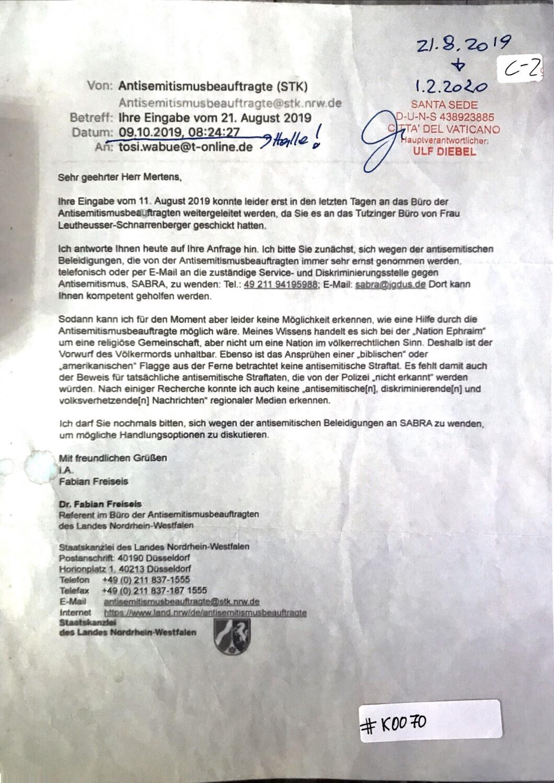#K0070 l Antwort des Antisemitismusbeauftragten Dr. Fabian Freiseis - Nordrhein-Westfalen