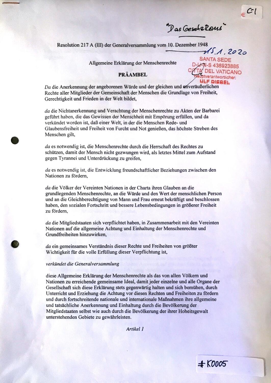 #K0005 l Resolution 217 A (lll) der Generalversammlung vom 10.Dezember