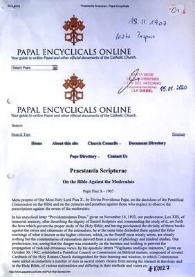 #K0027 l Praestantia Scripturae - On the Bible Against the Modernists l Pope Pius X - 1907