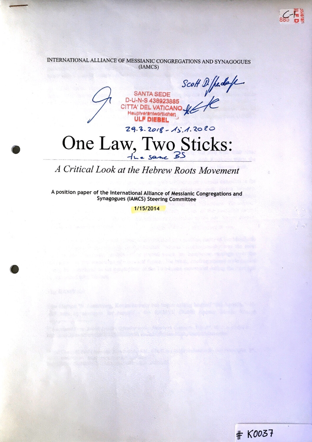 #K0037 l One Law, Two Sticks: A Critical Look at the Hebrew Roots Movement