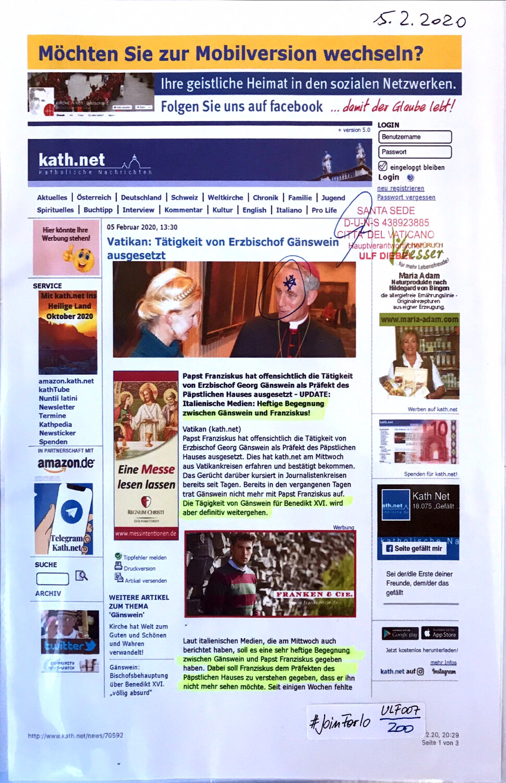 """#U007 l kath.net - """"Vatikan: Tätigkeit von Erzbischof Gänswein ausgesetzt"""""""