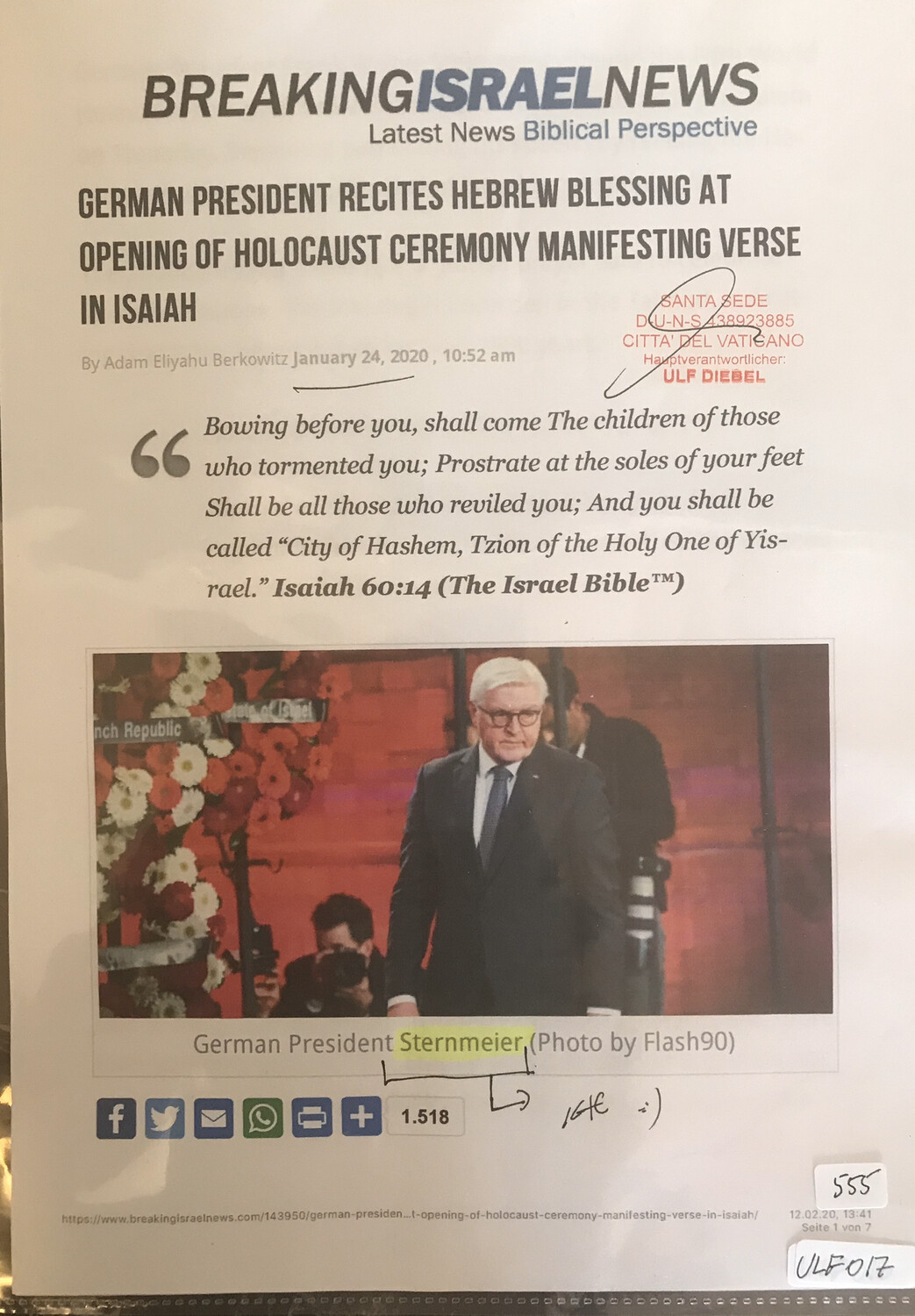 #U017 l BreakingIsraelNews - German President recites hebrew blessing at opening of Holocaust ceremony manifesting verse in Isaiah
