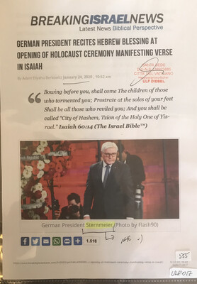 #U017 l BreakingIsraelNews - German President recites hebrew blessing at opening of Holocaust ceremony manifesting verse in Isaiah
