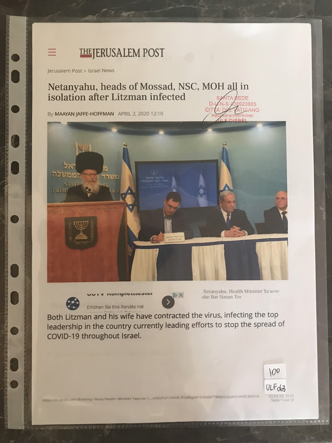 #U063 l The Jerusalem Post - Netanyahu, heads of Mossad, NSC, MOH all in isolation after Litzman infected