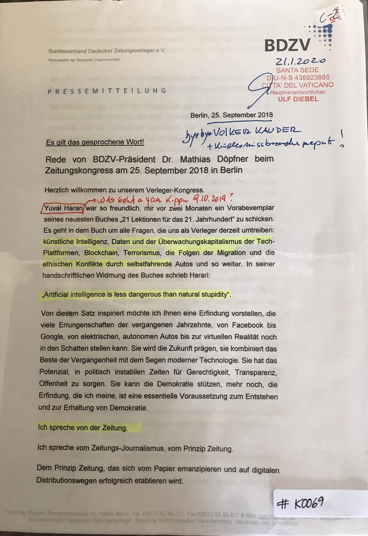 #K0069 l BDZV l Rede von BDZV-Präsident Dr. Mathias Döpfner beim Zeitungskongress am 25.September 2018 in Berlin