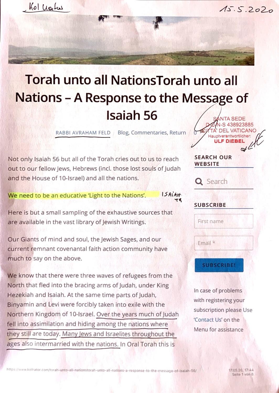 #U65 l Torah unto all Nations - A Response to the Message of Isaiah 56 - Rabbi Avraham Feld