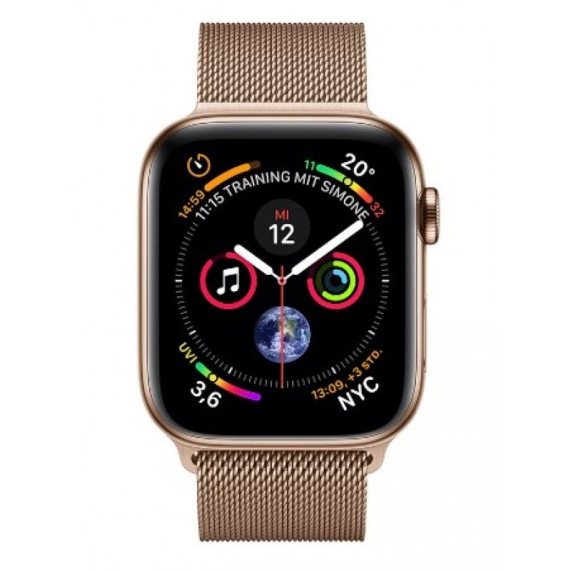 4 GPS + Cellular 44mm Stainless Steel Case with Milanese Loop Gold