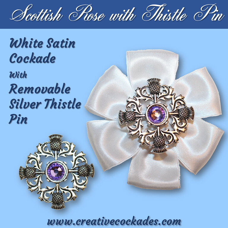 Scottish Rose Cockade with Thistle Pin