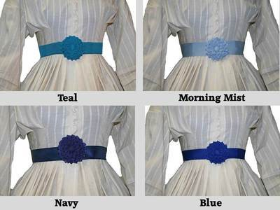 Shades of Blue - Petersham Rosette Belt