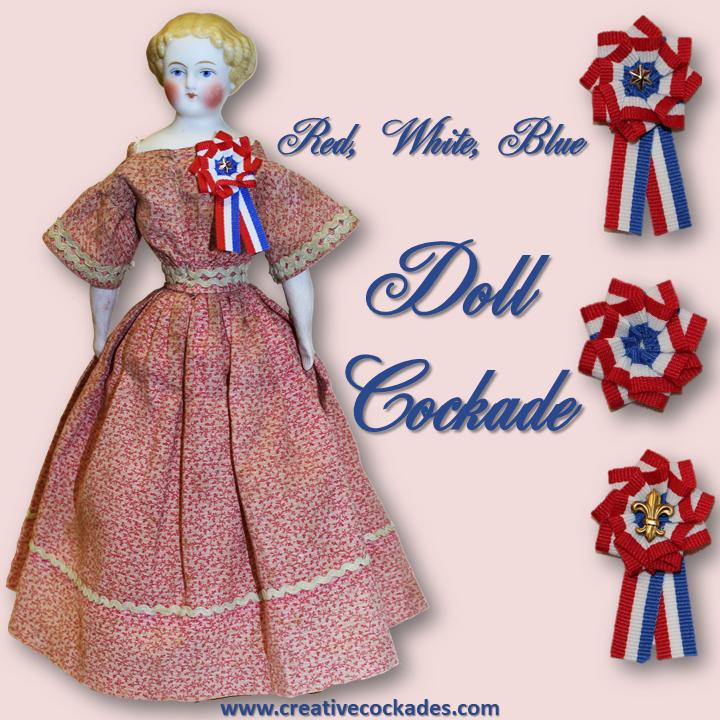 Red, White & Blue Doll Cockade
