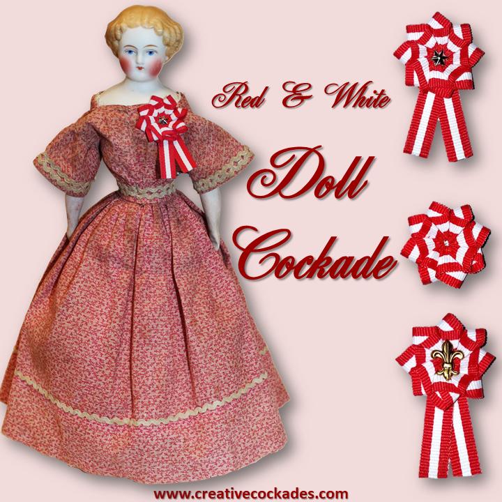 Red & White Doll Cockade