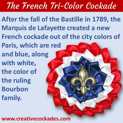 French Tricolor Cockade with Fleur de Lis