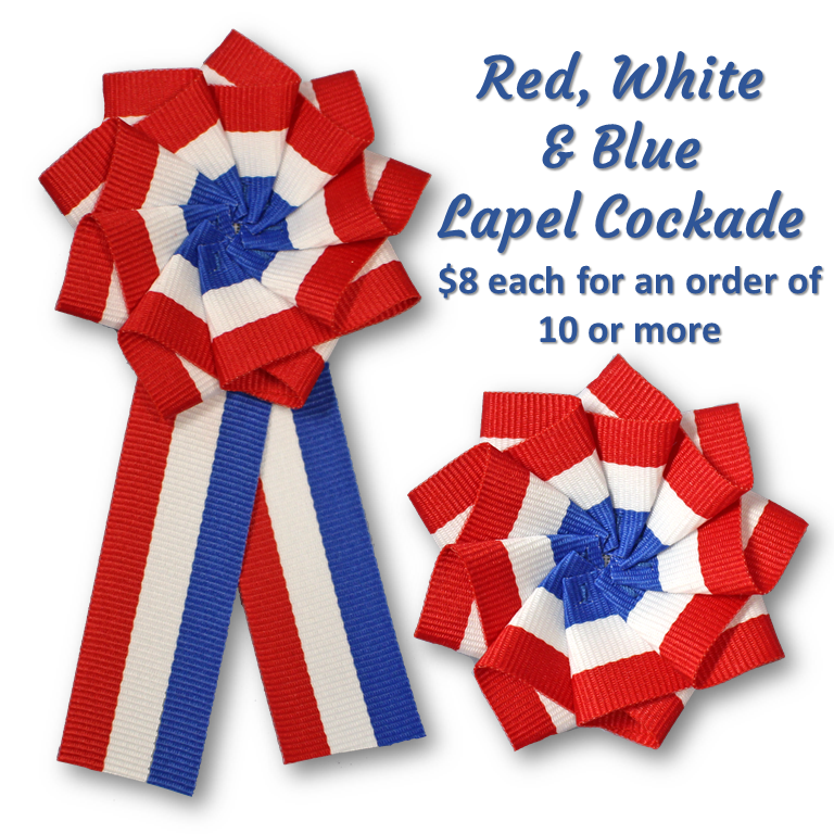 Red, White & Blue Lapel Cockade