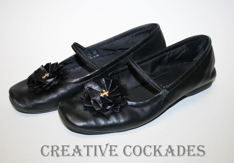 Black Fleur de Lis Shoe Rosettes