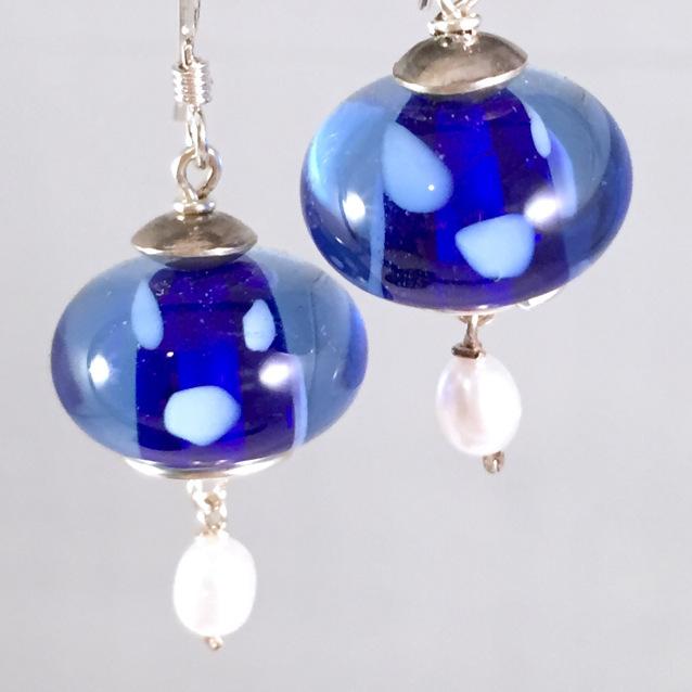 Blue encased earrings