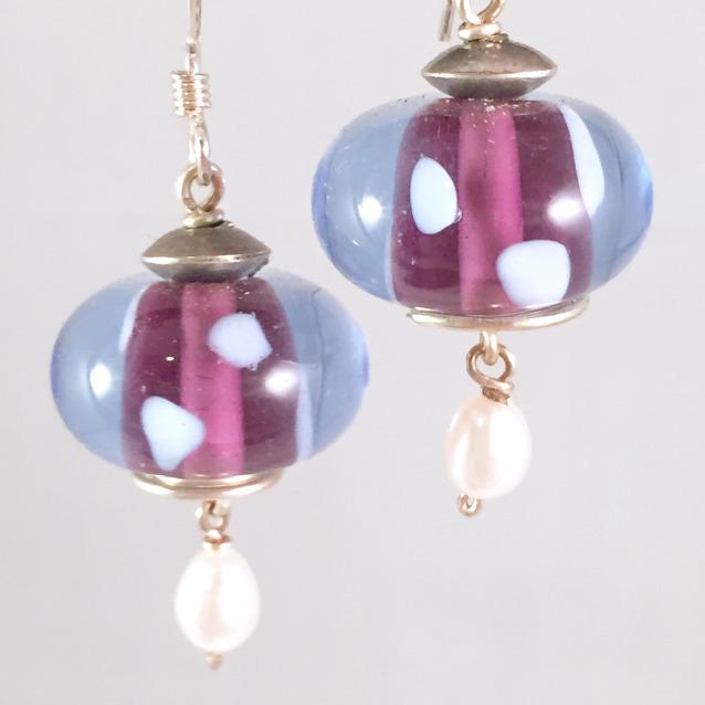 Purple encased earrings