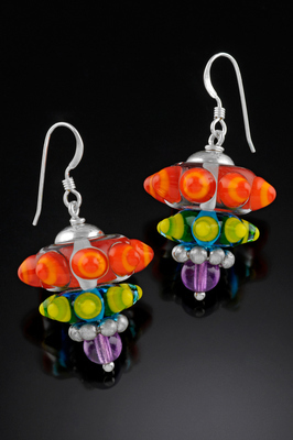 Colorful cone earrings