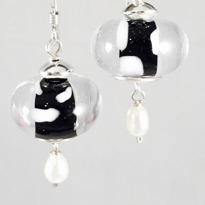 Black encased earrings
