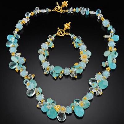 Gold and aqua gemstone bracelet