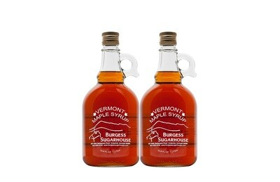 Two - Liter (33.8 fl oz, slightly more than a quart) Glass Jugs of Pure Vermont Maple Syrup