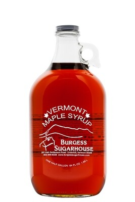 One - Half Gallon (1.89L) Glass Jug of Pure Vermont Maple Syrup