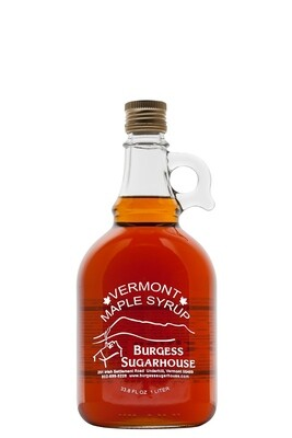 One - Liter (33.8 fl oz, slightly more than a quart) Glass Jugs of Pure Vermont Maple Syrup