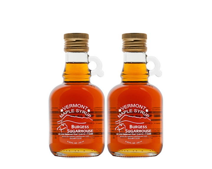 Two - 250ml (8.5 fl oz, slightly more than a half pint) Glass Jugs of Pure Vermont Maple Syrup