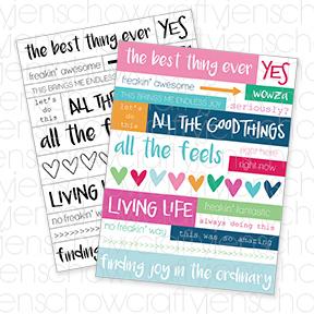 Living Life Printable Word Strips