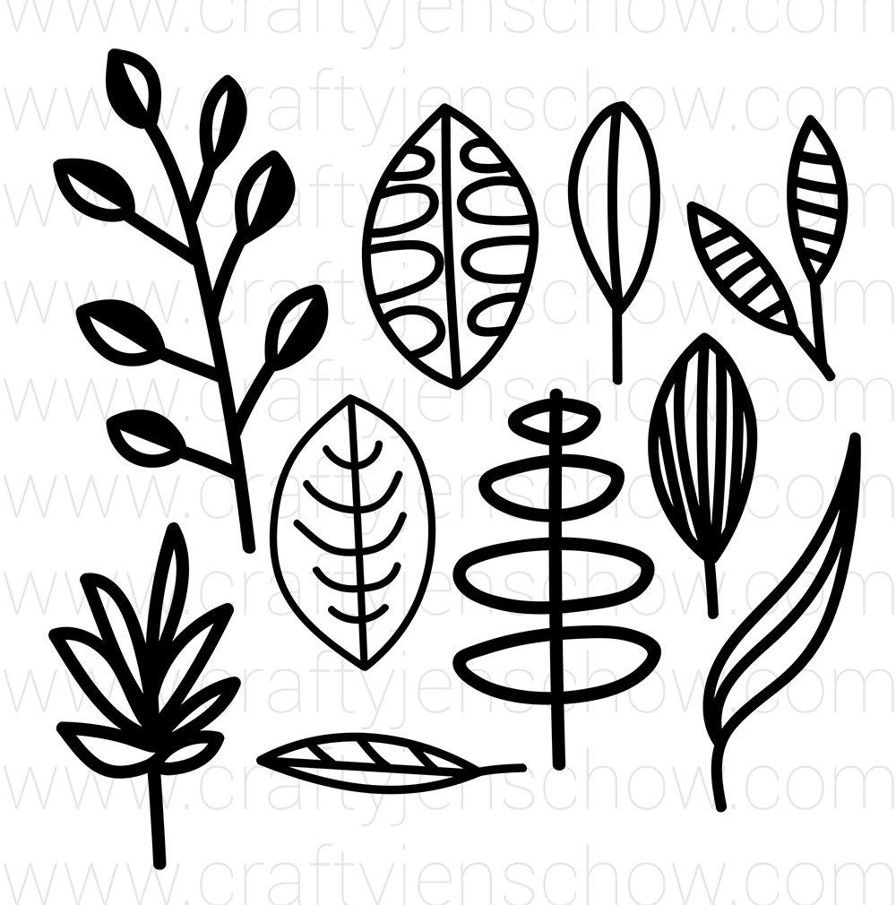 Lined Leaves 1 Cut File (Set of 10)