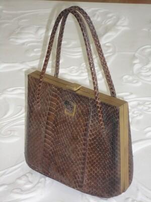 1950 Brown Snakeskin Dress / Evening Bag