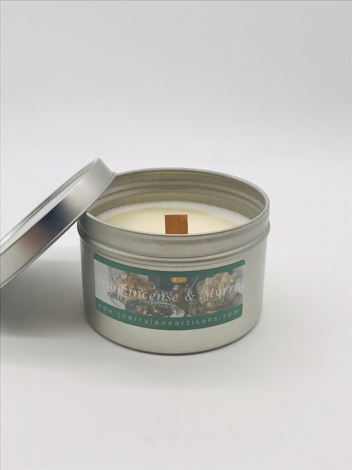 Frank & Myrrh Scented Soy Wax Candle with Wood Wick, 6 oz Tin.