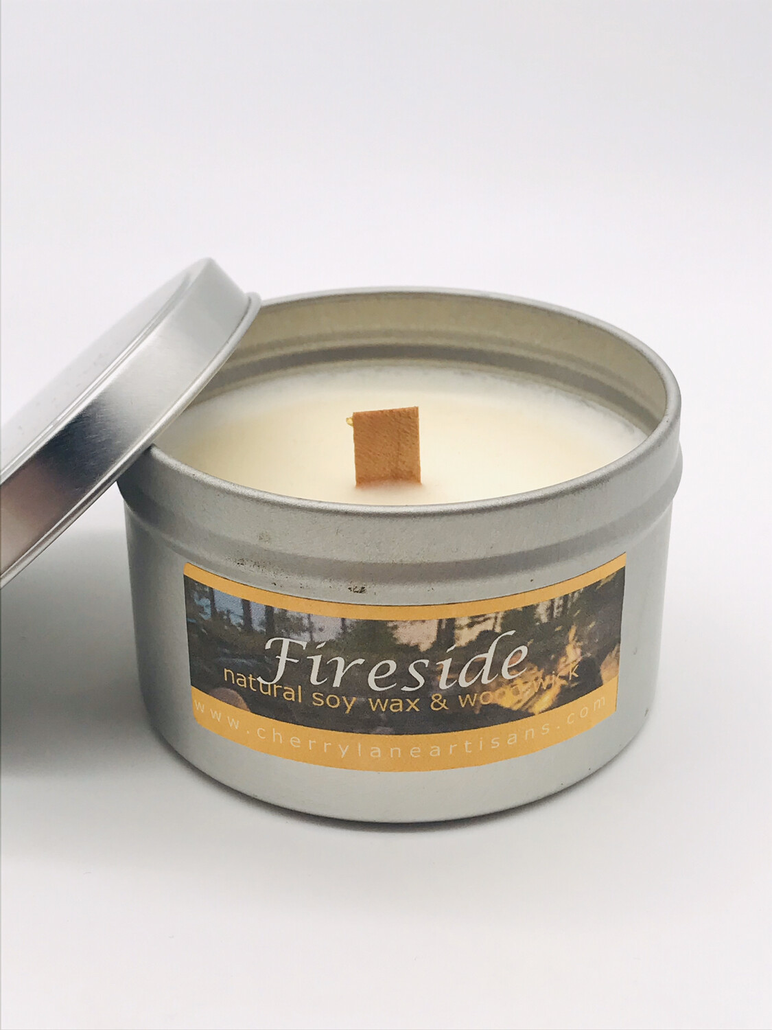 Fireside Scented Soy Wax Candle with Wood Wick, 6 oz Tin.