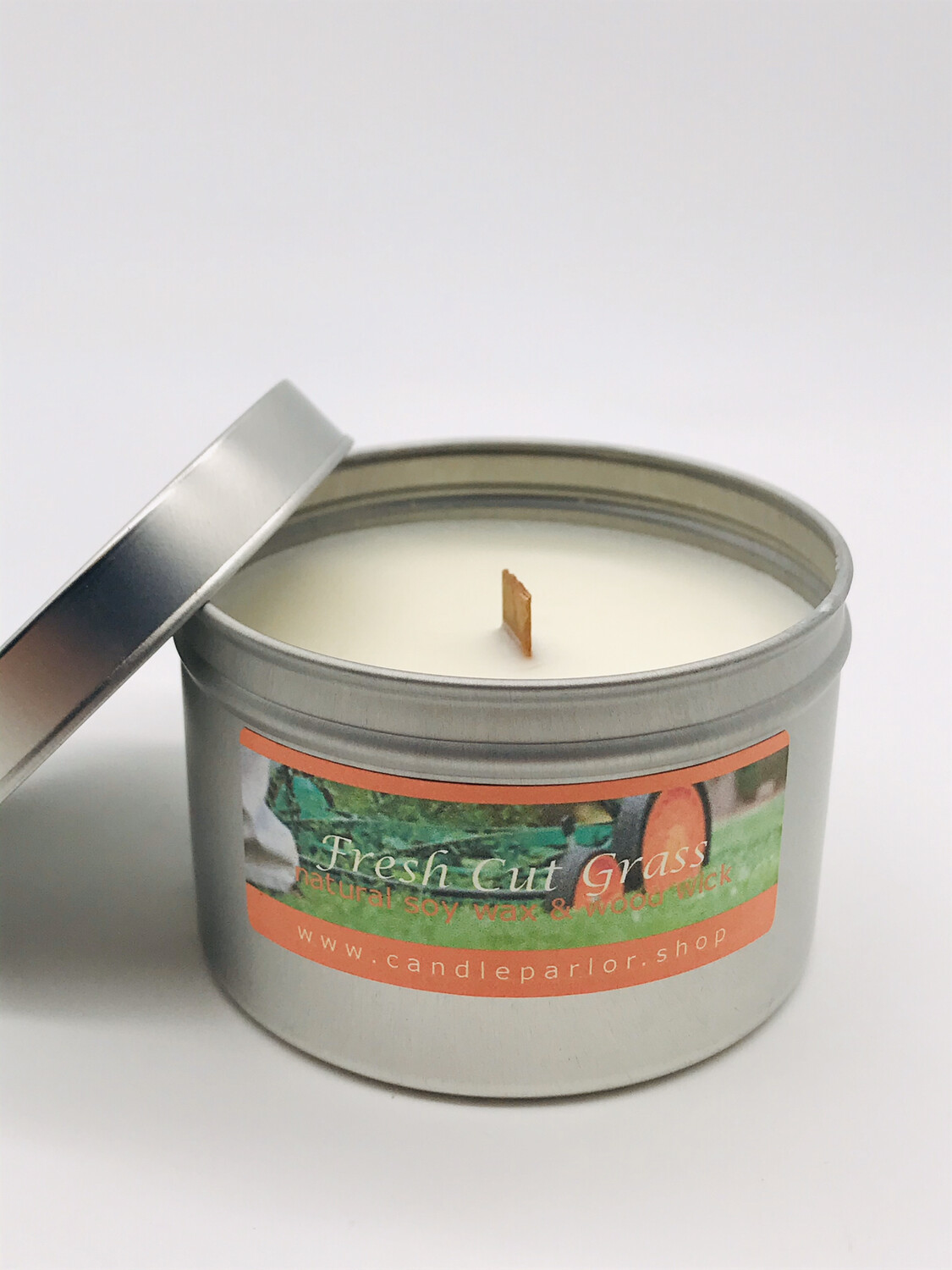 Fresh Cut Grass Scented Soy Wax Candle with Wood Wick, 6 oz Tin.