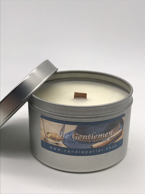 Gentlemen's  Cologne Scented Soy Wax Candle with Wood Wick, 6 oz Tin.