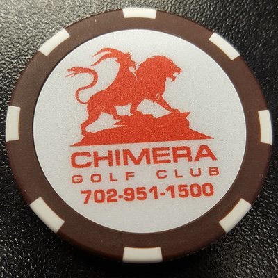 Chimera Poker Chip Golf Ball Marker - Brown and White