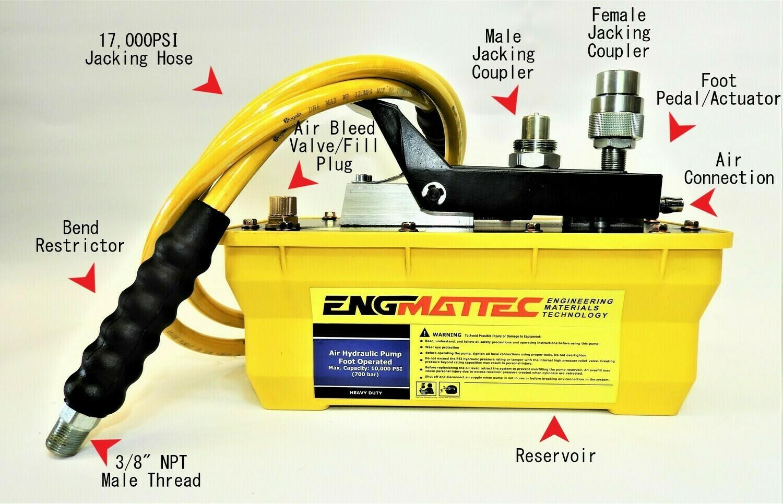 Portable Power Air Driven High Pressure Hydraulic Pump 10000 PSI 2 m Hose & Coupler..