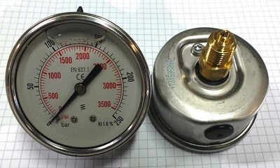 PRESSURE GAUGE REAR ENTRY HYDRAULIC 10BAR to 600BAR 2.5