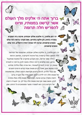 Butterfly Acrylic Hafrashat Challah-Can be picked up 5 Towns