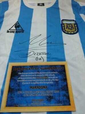 Maglia ARGENTINA 1986 DIEGO ARMANDO MARADONA Autografata  MARADONA ARGENTINA  Signed wich COA certificate DIEGO ARMANDO MARADONA ARGENTINA