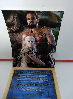 FOTO jason momoa emilia clarke Game of Thrones Autografata Signed + COA Photo jason momoa emilia clarke Game of Thrones Autografato Signed