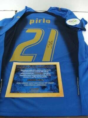 Maglia ITALIA WORLD CUP 2006 GERMANY  ANDREA PIRLO 21 Autografata Signed wich COA certificate Italy World cup 2006  PIRLO 21  Signed with coa