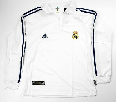REAL MADRID HOME UCL 2001-2002 LS MAGLIA CASA REAL MADRID MANICHE LUNGHE 01 02