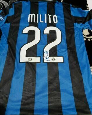 Inter REPLICA  Finale Madrid 2010 Autografata DIEGO MILITO Signed DIEGO MILITO Autograph  with COA certificate