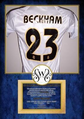 Maglia REAL MADRID Maglia Casa GALACTICOS Autografata David Beckham 23 Signed with COA certificate REAL MADRID  Beckham 7 Signed REAL