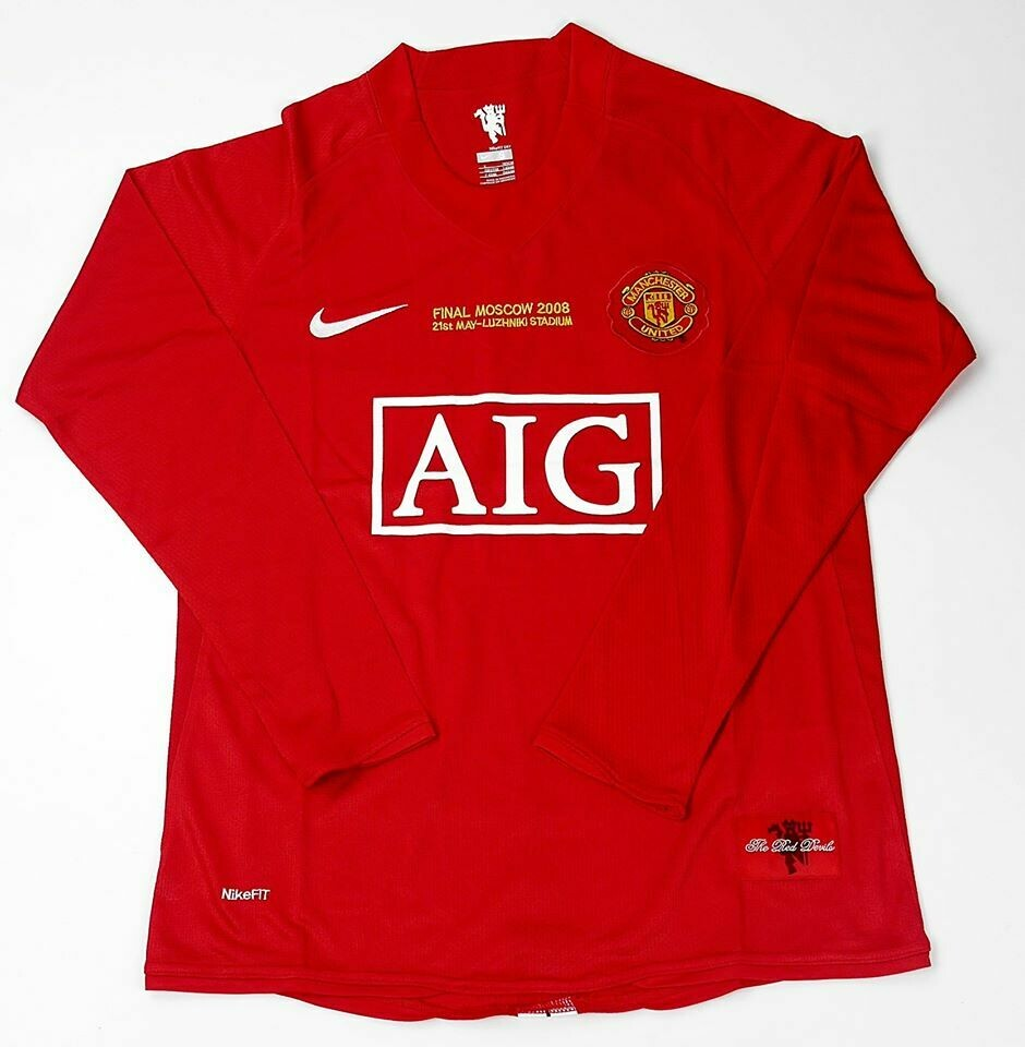 MANCHESTER UNITED MAN UTD JERSEY HOME MAGLIA CASA FINAL CHAMPIONS MOSCOW 2008 FINALE CHAMPIONS 2008 LONG SLEEVES MANICHE LUNGHE