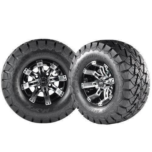 OCTANE 10x7 Machined Black w/ 22x10X10 Timber Wolf A/T Tire