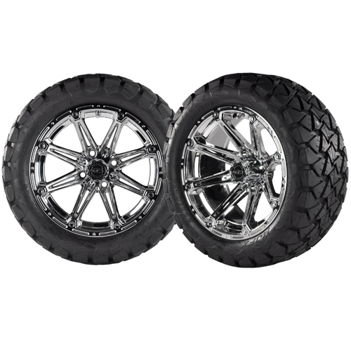 ELEMENT 14x7 Chrome w/ 22x10x14 Timber Wolf A/T Tire
